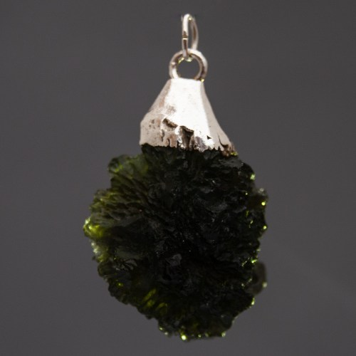 Large Raw Moldavite Sterling Silver Pendant