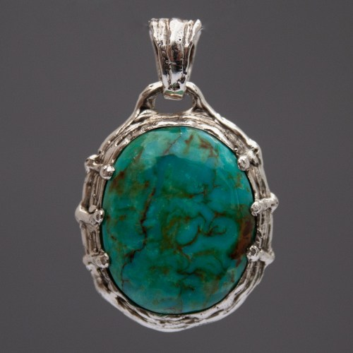 Blue Green Turquoise Sterling Silver Pendant