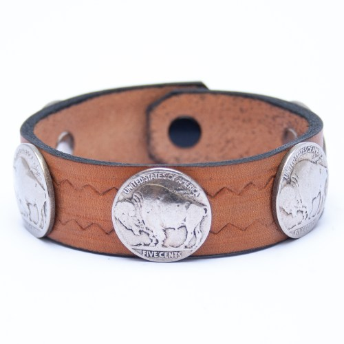 Vintage Buffalo Nickel Coin Tan Leather Bracelet