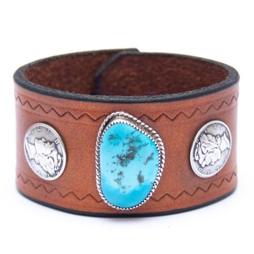 Bracelet Amérindien Turquoise Cuir Marron