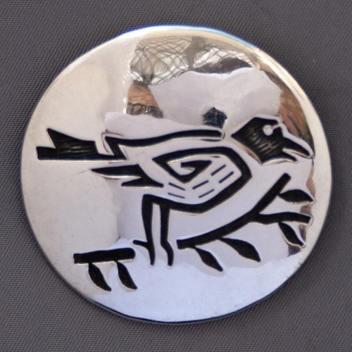 Hopi Raven Sterling Silver Pin Brooch