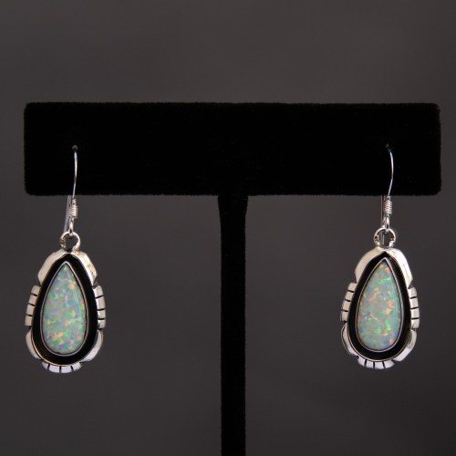 Amos Begay Navajo Opal Teardrop Earrings