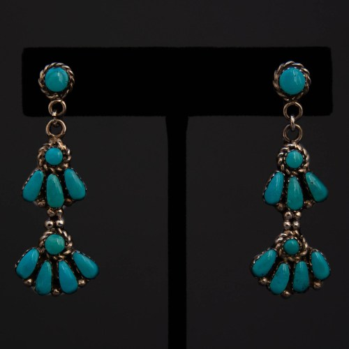 Three Tier Zuni Turquoise Silver Drop Earrings