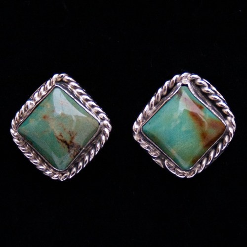 Running Bear Square Royston Turquoise Studs