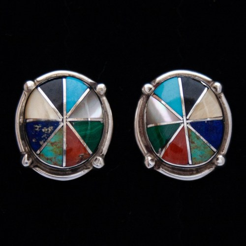 Zuni Inlay Oval Multicolour Pie Stud Earrings