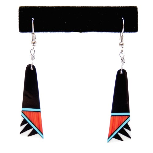 Black White Orange Blue Shell Inlay Earrings
