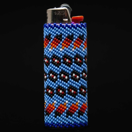 Large Blue Zuni Beaded Lighter Case