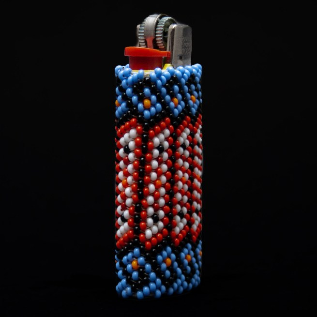 Small Blue Red Beaded Lighter