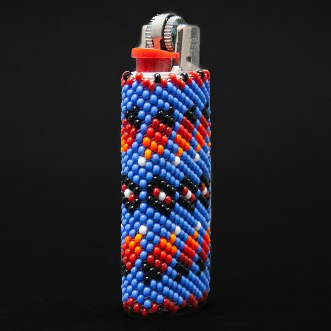 Small Blue Tribal Beaded Lighter Case