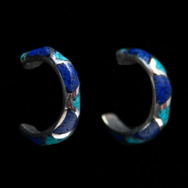 Small Lapis Turquoise Hoop Earrings