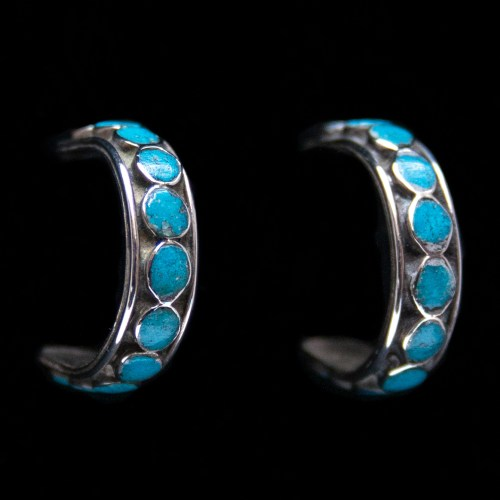 Turquoise Dot Hoop Earrings