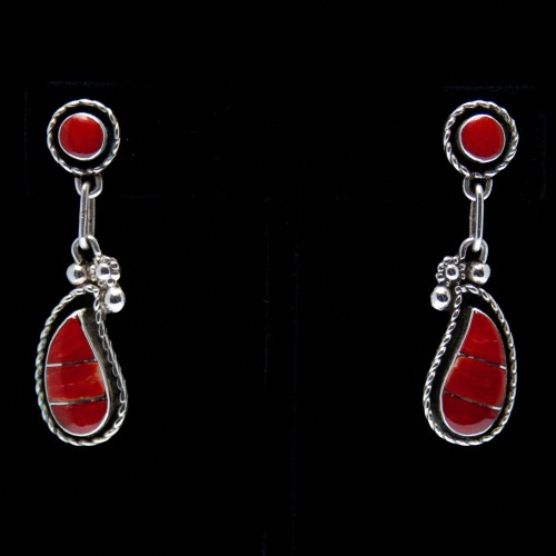 Two-Tier Teardrop Red Coral Earrings
