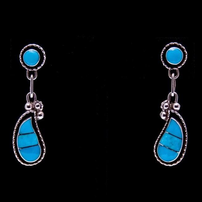Two-Tier Teardrop Turquoise Earrings