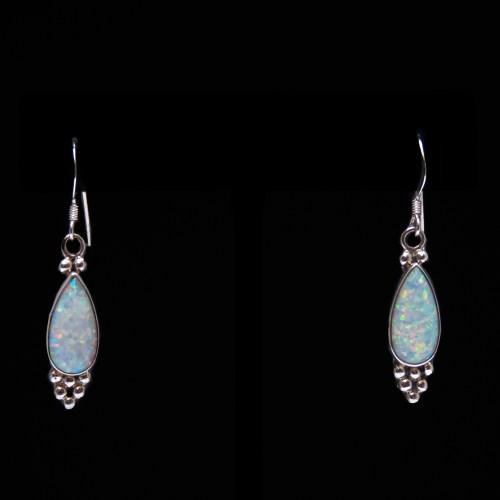 Zuni White Opal Teardrop Earrings