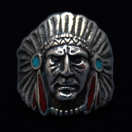 Indian Chief Coral Turquoise Ring