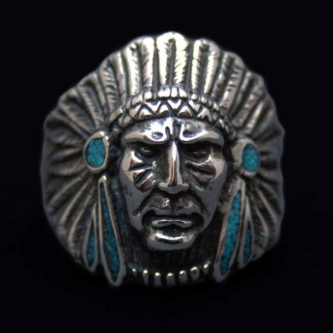 Indian Chief Silver Turquoise Ring