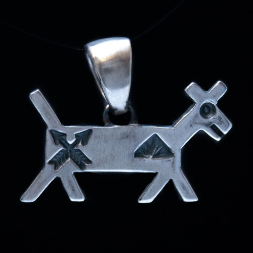 Native American Silver Dog Pendant