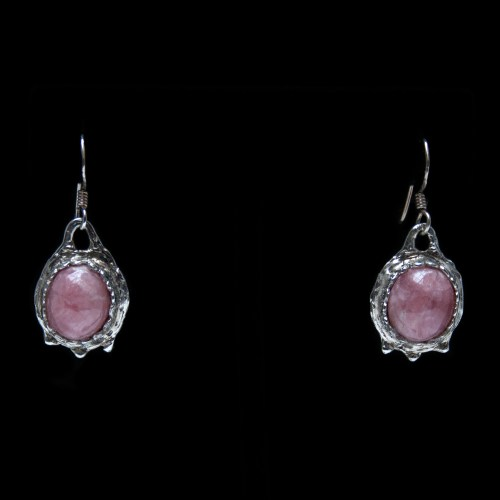 Rhodochrosite Silver Drop Earrings