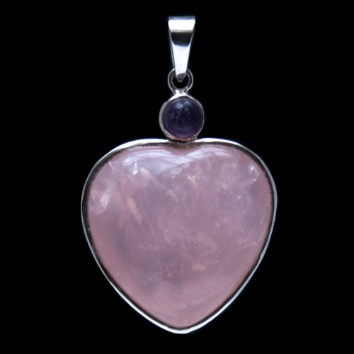 Rose Quartz Heart Amethyst Pendant