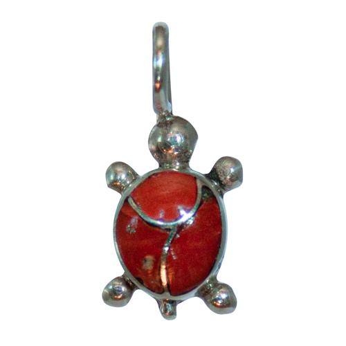 Small Coral Turtle Pendant