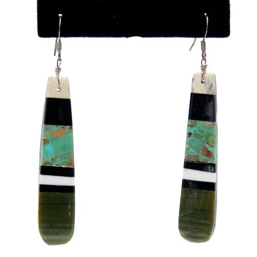 Green Black White Slab Earrings