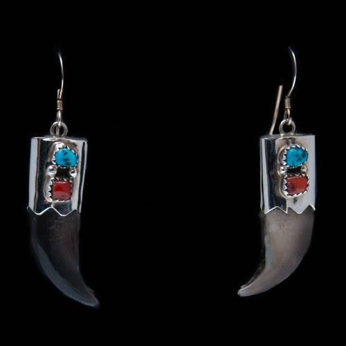 Turquoise Coral Bear Claw Earrings