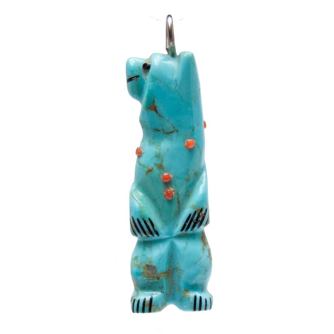 Turquoise Coral Bear Pendant