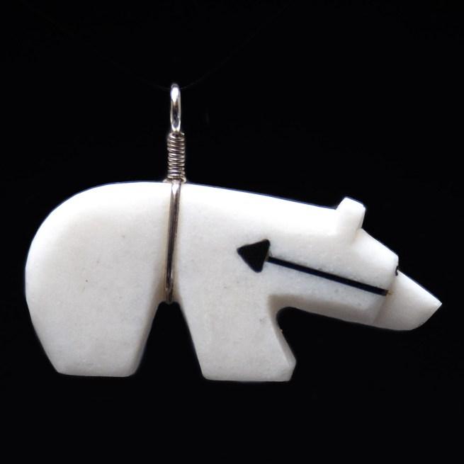 White Zuni Bear Pendant