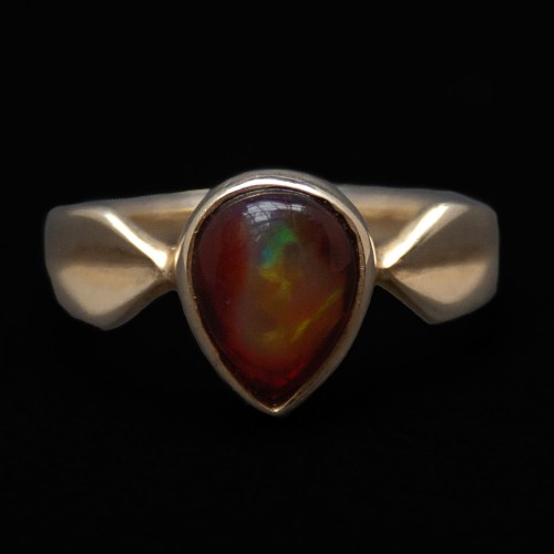 Gold Plate Fire Opal Ladies Ring