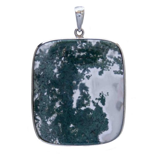 Large Moss Agate Silver Pendant