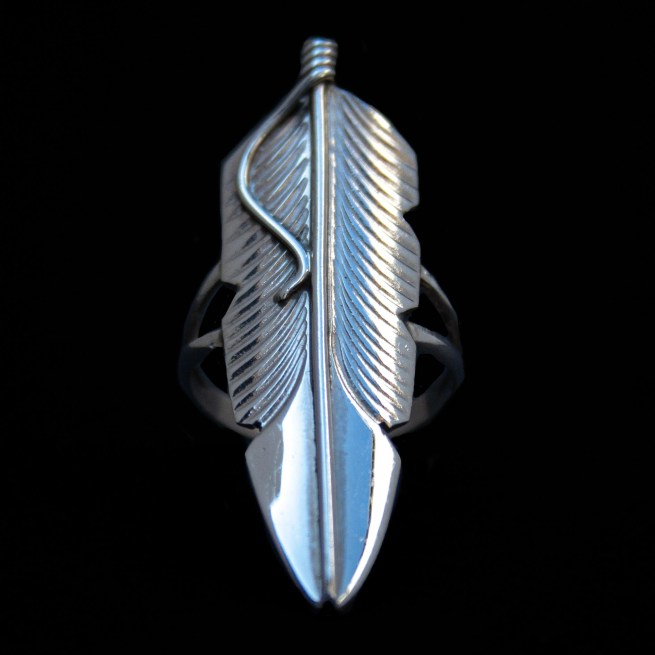 Navajo Silver Feather Ring