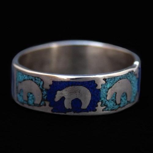 Turquoise Lapis Bear Ring