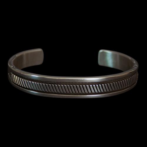 Navajo Striated Silver Bracelet