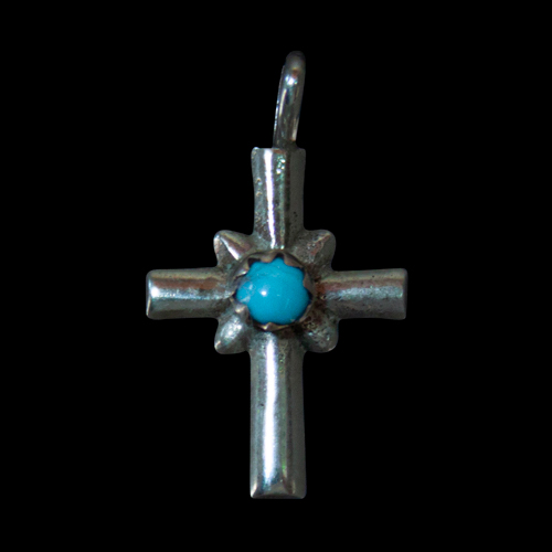 Small Silver Turquoise Crucifix
