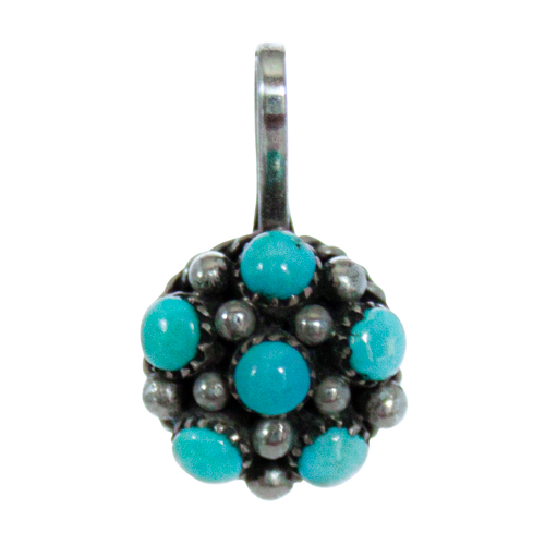 Small Round Dotted Turquoise Pendant