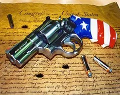 Patriotic gun on the United States Constitution