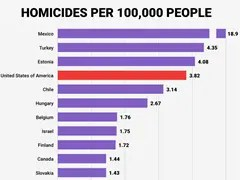 Homicides per 100,000 people