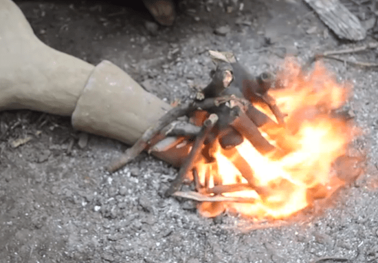 Extension tube leading to forge fire