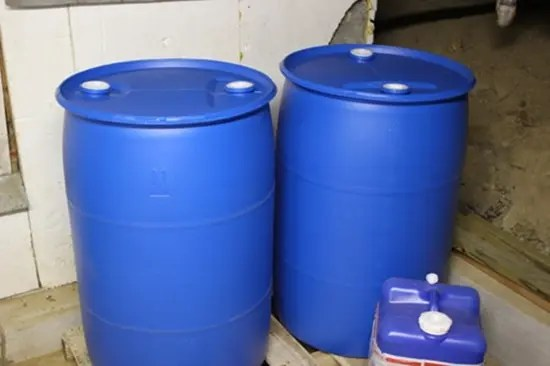 Blue water storage drums