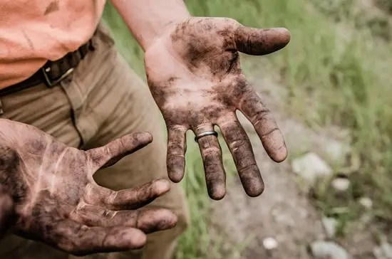 Dirt on hands