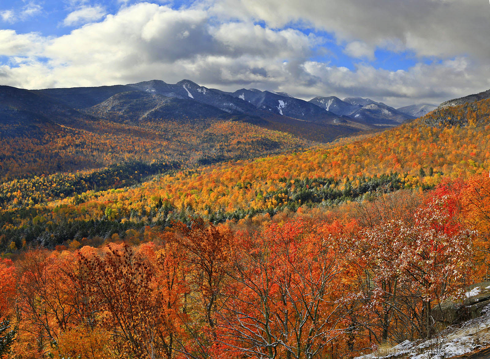 Great Range And Johns Brook Valley Autumn Snowfall From