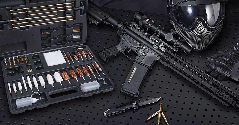 FIREGEAR Gun Cleaning Kit Universal Supplies for Hunting Rifle Handgun Shot Gun Cleaning Kit for All Guns with Case