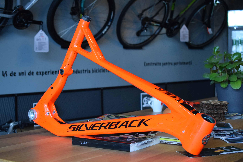 an orange bike frame