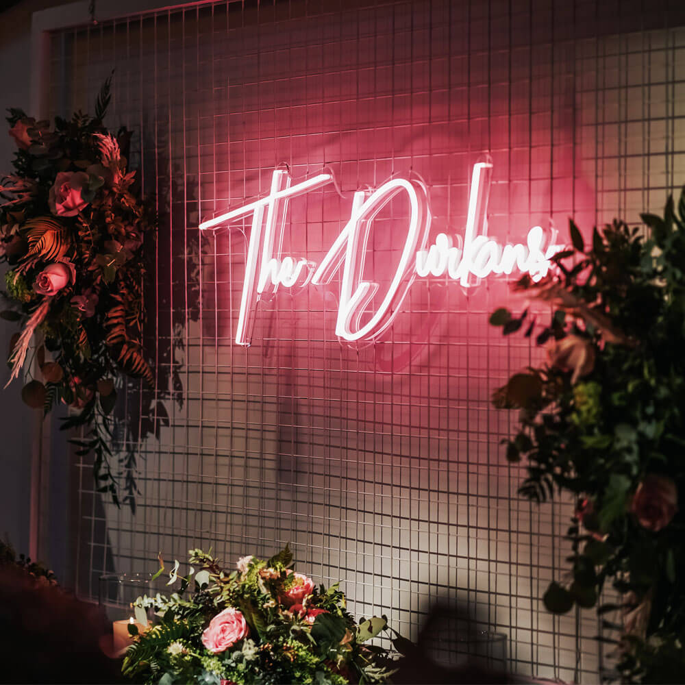 LED personalised neon sign at wedding in cheshire