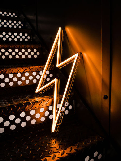 personalised neon sign led neon lightning bolt by wildfire neon