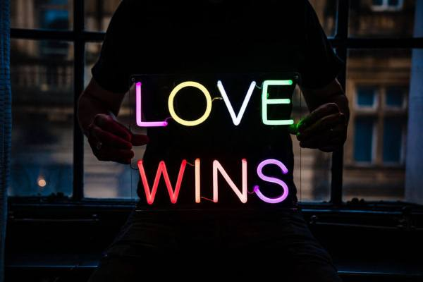 wildfire led neon sign love wins multicolour led sign 3