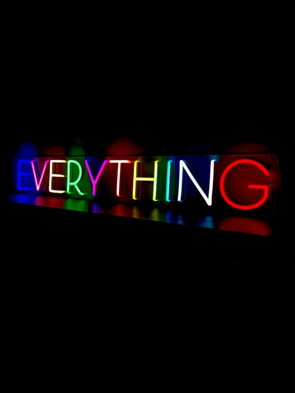 everything neon sign light multicoloured