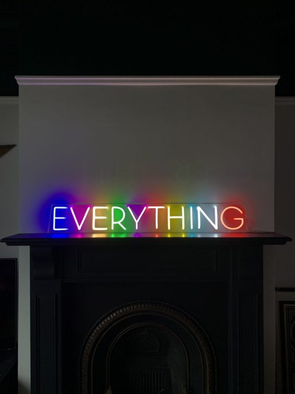 multi coloured everything neon sign on fire