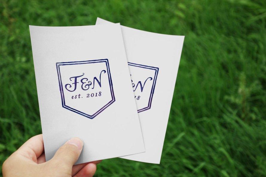 2 Letter Monogram Crest with Date - Wedding logo by Wild Joy Studios