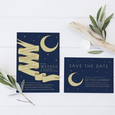 Night Sky Invitation Set for New York Wedding